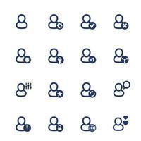 Connexion, paramètres de compte, utilisateur, icônes de profil définies sur blanc vecteur