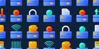 modèle sans couture de cartes de crédit avec illustration vectorielle stock différents éléments. fond pour les systèmes de paiement bancaires, en ligne et hors ligne.
