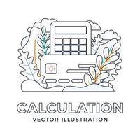 calculatrice et carte de crédit vector illustration stock isolé sur fond blanc. le concept de payer des impôts, de calculer les dépenses et les revenus, de payer les factures. face avant de la carte avec calculatrice.
