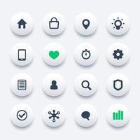 icônes Web de base définies pour les applications et les sites Web vecteur