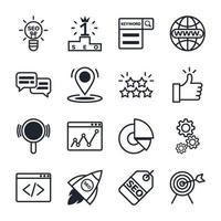 jeu d'icônes d'optimisation de moteur de recherche vecteur
