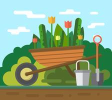 Travailler dans le jardin vecteur