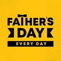 illustration vectorielle de bonne fête des pères. conception carrée de bannière de célébration. bannière de voeux style vintage avec texte, fête des pères tous les jours. couleurs jaunes et noires. vecteur