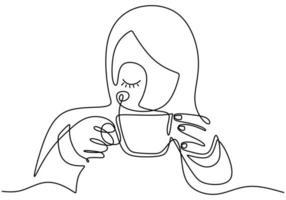 dessin au trait continu, vecteur de fille buvant du café avec détente, femme à la mode se sentir calme après avoir bu une boisson. conception de minimalisme avec simplicité dessinés à la main isolé sur fond blanc.