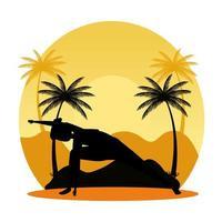 silhouette de femme pratiquant le pilates sur la scène de coucher de soleil paysage