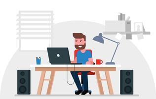 Illustration de travailleur de bureau de vecteur