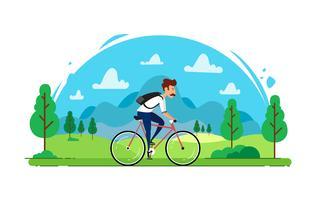 Bicycler de vecteur avec paysage