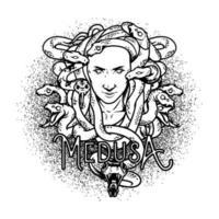 illustration de tête de méduse noir et blanc pour t-shirt, affiche, logo ou tatouage isolé sur fond blanc vecteur