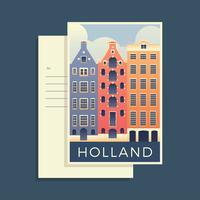 Cartes postales du vecteur de la Hollande du monde