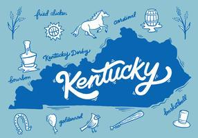 Lettrage de la silhouette du Kentucky vecteur