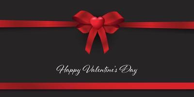 bannière de la saint valentin avec ruban rouge et coeur