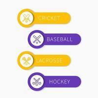 cricket, baseball, crosse, hockey sur gazon, bannières de sports d'équipe avec des icônes de ligne