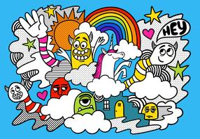 Doodle de monstre arc-en-ciel coloré vecteur