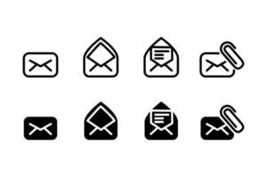 ensemble de vecteur de conception d'icônes e-mail linéaire et silhouette