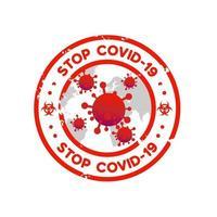 conception de modèle de timbre vintage stop covid 19 vecteur
