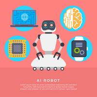 Illustration vectorielle de Flat AI Robot
