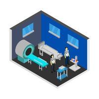 chambre d'hôpital isométrique sur fond blanc