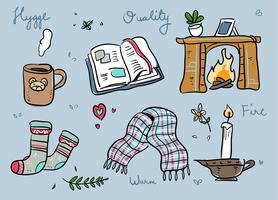 Hygge Stuff dessinés à la main Doodle Vector Illustration