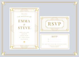 Modèle de vecteur d'invitation de mariage Art déco or blanc