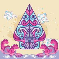 Forme modifiée et drôle de wayang Gunungan Concept vecteur