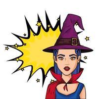 Jeune femme déguisée de vampire avec chapeau pop art style sorcière vecteur