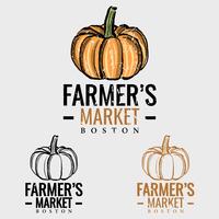 Logo du marché des producteurs de citrouilles vecteur