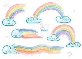Illustration vectorielle de mignon nuage aquarelle arc-en-ciel vecteur