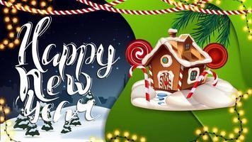 bonne année, carte postale bleue et verte avec des guirlandes, paysage d'hiver et maison de pain d'épice de Noël