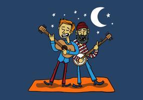 deux musiciens de bluegrass vecteur