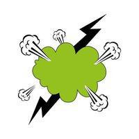 couleur verte explosion de nuage avec style pop art foudre