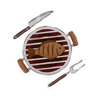 barbecue au four avec icône isolé de poisson vecteur