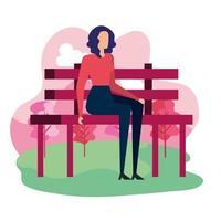élégante femme d'affaires assise dans la chaise de parc vecteur
