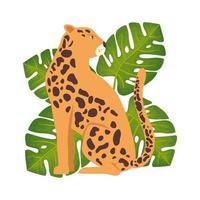 animal léopard avec icône isolé de feuilles vecteur