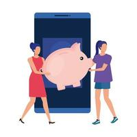 jeunes femmes avec smartphone et argent