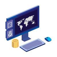 bureau d'ordinateur avec des pièces de monnaie et une application de menu