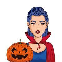 Jeune femme déguisée de vampire avec pop art style citrouille vecteur