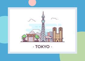 Carte postale de Tokyo vecteur