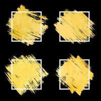 cadre de coup de pinceau doré vecteur