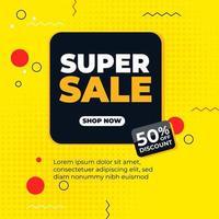 bannière web carrée de promotion jaune vecteur