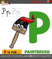 feuille de calcul lettre p avec pinceau de dessin animé vecteur