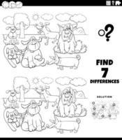 Jeu éducatif de différences avec la page de livre de coloriage de chiens