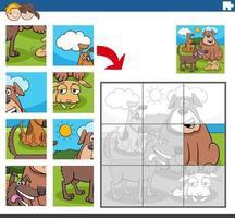 jeu de puzzle avec des personnages animaux chiens vecteur