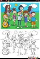 dessin animé, enfants, caractères, groupe, livre coloration, page vecteur