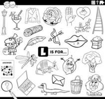 lettre l, tâche éducative, livre coloration, page vecteur