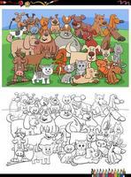 dessin animé drôle chats et chiens groupe page de livre de coloriage vecteur