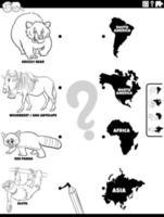 Joignez-vous à la page de livre de coloriage du jeu animaux et continents vecteur