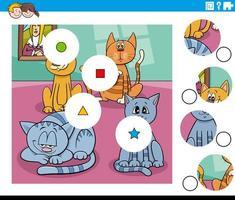 Match de pièces puzzle avec des personnages drôles de chats vecteur