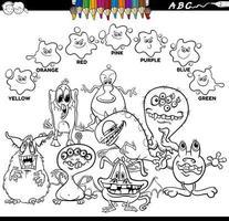 livre de couleurs de couleurs de base avec des personnages de monstres vecteur