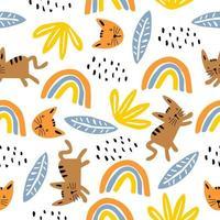 modèle sans couture avec chatons colorés chat mignon. texture enfantine créative. idéal pour le tissu, illustration vectorielle textile.
