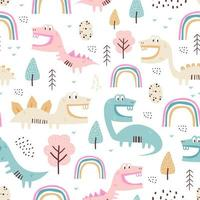 modèle sans couture de dinosaure enfantin pour vêtements de mode, tissu, t-shirts. dessiné à la main. illustration vectorielle pour bébé et enfants impression textile, style scandinave. vecteur